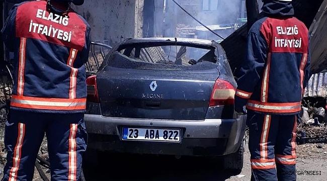 Elazığ'da ev ve araç yangını