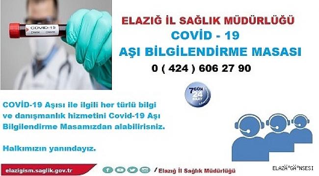 """"""" Covid -19 Aşısı Bilgilendirme Masası"""" kuruldu"""